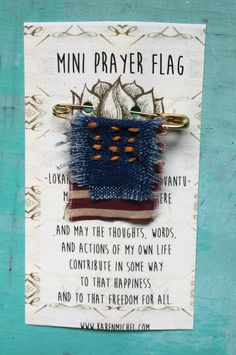 wearable mini prayer flags on safety pins by kmichel on Etsy
