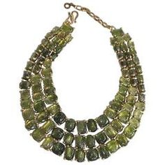 Goossens Paris Triple Row Green Rock Crystal Necklace