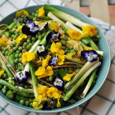 Springtime Noodle Salad with Baby Leeks, Peas & Asparagus