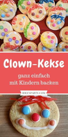 You can easily bake the clown cookies together with your children. - You can easily bake the clown cookies together with your children. Great for Mardi Gras / Carnival - Mardi Gras Carnival, Good Day Sunshine, Bridal Musings, Cookies Et Biscuits, Finger Foods, Food And Drink, Snacks, Cooking, Breakfast