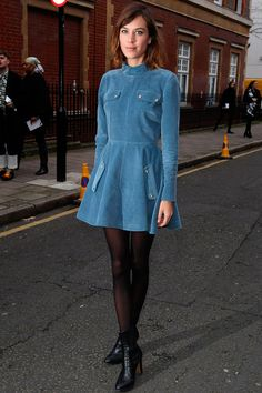 Alexa Chung Is On Trend With This Blue Cord Skater Dress During London Fashion Week, 2015