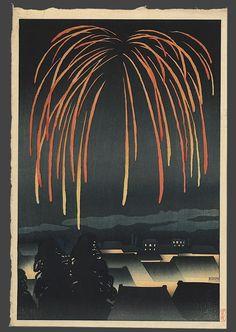 Festival Night Fireworks by Yamamura Toyonari, 1924 Happy of July! Japanese Art Modern, Japanese Prints, Japanese Culture, Fireworks Art, Japanese Woodcut, Oise, Japanese Painting, Chinese Painting, Chinese Art