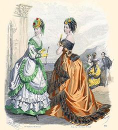 Orange evening dress trimmed with black lace. From The Englishwoman's Domestic Magazine, August 1869.