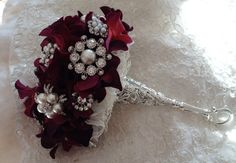 Bridal Brooch Bouquet WINE Brooch Bouquet with by VioGemini, $280.00