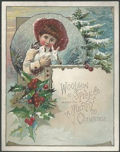 Victorian Merry Christmas Trade Card For Woolson Spice Lovely Girl and Bunnies