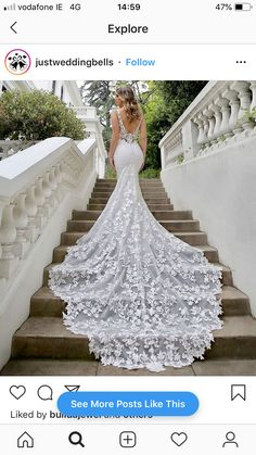 Wedding Dress Malia by Blue by Enzoani - Search our photo gallery for pictures of wedding dresses by Blue by Enzoani. Find the perfect dress with recent Blue by Enzoani photos. Extravagant Wedding Dresses, Long Wedding Dresses, Wedding Dress Styles, Bridal Dresses, Lace Mermaid Wedding Dress, Wedding Dress Long Train, Beautiful Wedding Gowns, Wedding Dress Blue, Different Color Wedding Dresses