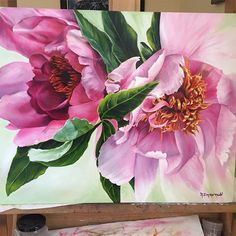 I was happy considering I don't paint flowers 😀 Oil Painting Flowers, Watercolor Flowers, Paint Flowers, Painting Art, Watercolor Artists, Watercolor Pencils, Painting Lessons, Large Painting, Silk Painting