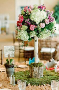 Party table from Enchanted Woodland Forest Birthday Party from Kara's Party Ideas. See more at karaspartyideas.com!