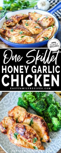 My Kids LOVE this easy dinner! This one skillet honey garlic chicken is simple to make on a busy night and pairs well with broccoli, spinach, asparagus or your favorite side! Bonus, it is gluten free, dairy free and weight watchers freestyle friendly! Gluten Free Recipes For Dinner, Healthy Dinner Recipes, Cooking Recipes, Gluten Free Dinners Easy, Simple Easy Dinner Recipes, Dairy Free Meals, Dairy Free Recipes Healthy, Crockpot Recipes, Dessert Recipes
