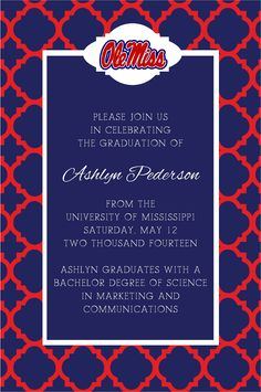 Blues Graduation Invitations  Graduation Invitations