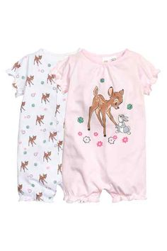 pyjamas: Two pyjama all-in-ones in soft, printed cotton jersey with short sleeves and short legs. One has press-studs down the front and the other has press-studs on one shoulder and at the crotch. Disney Baby Clothes, Baby Kids Clothes, Baby & Toddler Clothing, Baby Disney, Baby Outfits Newborn, Baby Boy Newborn, Baby Girl Fashion, Kids Fashion, Pyjamas