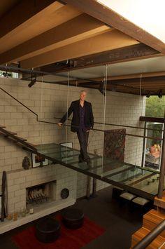 Love the glass bridge in this loft house
