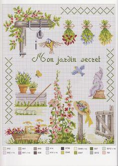 Gallery.ru / Фото #1 - Autour du jardin - Mosca hanging herbs gladiolas hat garden jardin cross stitch point de croix