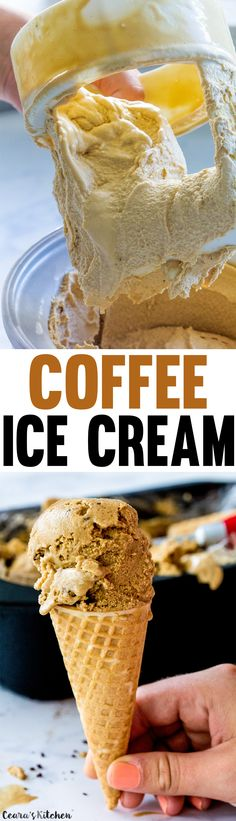Dairy-Free Coffee Ice Cream made with aquafaba & coconut sugar. The aquafaba makes this vegan ice cream extremely fluffy! Vegan + Gluten Free.