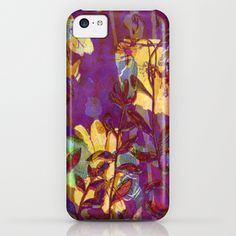 yellow flowers on purple iPhone & iPod Case#purple,#yellow,#flowers,#abstract
