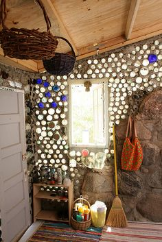 this is so beautiful. where can i work this in.  entrance  i love the bottle walls. i have to do this.