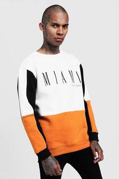 Miami Print Loose Fit Colour Block Sweatshirt - boohooMAN Source by gladysamelias Hoodie Sweatshirts, Loose Fit, Moda Blog, Lacoste, Moda Fitness, Miami, Shirt Sleeves, Shirt Designs, Menswear