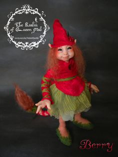 Faerie Creatures. Berry . Fantasy Art doll.Froud Style .Ooak Art Doll polymer clay One of a Kind Fantasy Doll.