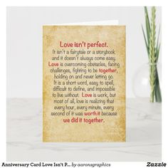 Shop Anniversary Card Love Isn't Perfect created by aaronsgraphics.