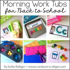 Morning Work Tubs for Kindergarten {Back to School} - Let your kinder students work through these 20 activities. You get materials that need very little planning or prep. Grab a few classroom supplies - such as math manipulatives and playdough - and you'll be on your way. Student instruction cards and all activities are included. Great to celebrate the beginning of the school year. Click for more details! Great for the classroom OR homeschool.