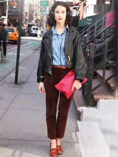 KENDRA This APC employee walks the walk in the brand's own pants and shoes.