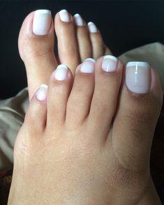 White on white summer pedicure. Pretty Toe Nails, Cute Toe Nails, Sexy Nails, Cute Toes, Classy Nails, Pretty Toes, Sexy Toes, French Pedicure, French Tip Toes
