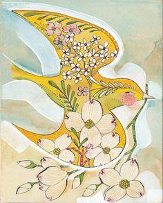 Ave Art Print - Cori Dantini la pared arte - Jilguero de 8 x 10 - Cornejo - Ideas para decorar el Baby amarillo y azul archivado y edición limitada