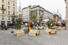 Pieces of outdoor furniture seen on Piazza XXV Aprile during Public Design Festival 2014.