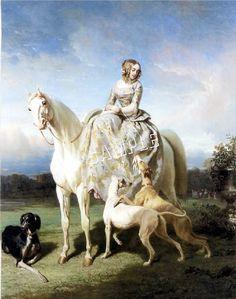 sidesaddle   Victorian Sidesaddle Lady Greyhounds Saluki Canvas Art   eBay