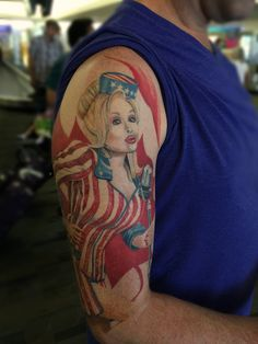 A Dolly tattoo I did last year. Lookin great!! Saw her out and about and had to share. Thanks T.
