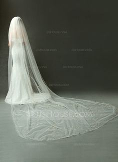 [US$ 250.99] Two-tier Cathedral Bridal Veils With Beaded Edge (006090096)