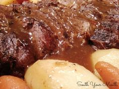 South Your Mouth: Mama's Pot Roast--excellent, I baked in the oven for about 4 hours in my Le Creuset substituted the water for broth and added one beef broth base from swanson..