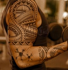 Poly Style Tribal Plumeria... luv how they plumeria is inked - B