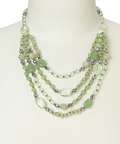 Look at this Green & Silver Bead Necklace on #zulily today!