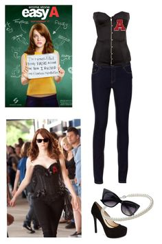 """""""Easy A - Olive Penderghast (Emma Stone)"""" by oliveboliviak ❤ liked on Polyvore featuring Agent Provocateur and Jessica Simpson"""