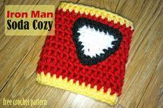 Free Crochet Pattern - Iron Man Soda Cozy. FREE PDF 2/15