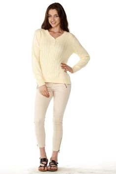 This Yellow Pointelle Sweater is perfect for a cold AC room! #FreeShipping #OOTD #Fashion