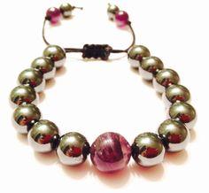 Amethyst and Hematite Bracelet - Gemstone Bracelet - Meditation Bracelet - Healing Bracelet - Gemstone Jewelry - Handmade Bracelet by OurUniverseShop on Etsy