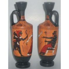 Ancient Greek black figure lekythos vase