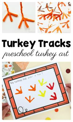 Turkey tracks preschool turkey art Turkey tracks are a silly and fun way to make turkey art with kids! Perfect for Thanksgiving or a preschool farm theme. Free printable class book available. Thanksgiving Art Projects, Thanksgiving Activities For Kids, Thanksgiving Food, Preschool Art Projects, Preschool Art Activities, Preschool Farm, Preschooler Crafts, Preschool Arts And Crafts, November Crafts
