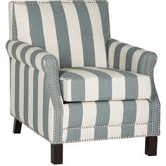 Safavieh Gray & White Stripe Easton Club Chair ($390) ❤ liked on Polyvore featuring home, furniture, chairs, accent chairs, gray chair, grey occasional chair, grey accent chair, safavieh home furniture and grey chair