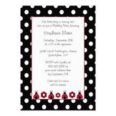 Cute red ladybug flowers birthday party invitation