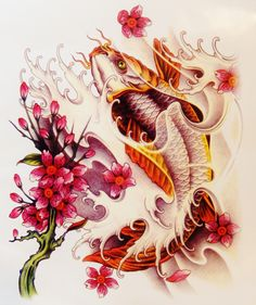 Large Colorful Koi Fish Temporary Tattoo