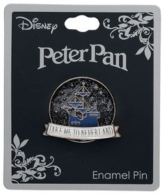 Take Me To Neverland. Peter Pan Pin from disney Disney Pin Trading, Disney Cute, Disney Style, Lego Mecha, Broches Disney, Bag Pins, Jacket Pins, Literary Gifts, Cool Pins