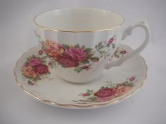 Myott Rose Garden Cup And Saucer Ironstone by Saltofmotherearth