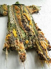 """""""I do not grow on trees, I am only wearing a dress made of leaves""""  frestyle coat/ tunic for freespirits  crocheted/knitted freeform guerrilla-knitting fusion elaborately sculptured & detailed ..."""