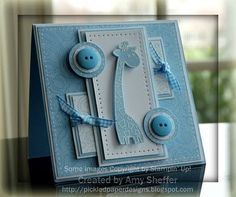 handmade baby card ... monochromatic baby blue ... lots of layers and popped up pieces .. giraffe ... buttons ... bows ... sweet!!!
