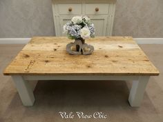 French Style Reclaimed Handmade Rustic Solid Pine Coffee Table, Shabby Chic