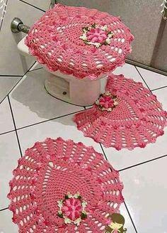 Bath Crochet Patterns Part 10 - Beautiful Crochet Patterns And Knitting Patterns - Diy Crafts - DIY & Crafts Crochet Dishcloths, Crochet Doilies, Crochet Flowers, Doily Patterns, Knitting Patterns, Crochet Patterns, Bathroom Crafts, Bathroom Sets, Crochet Home