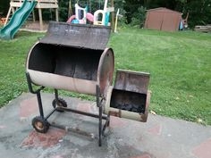 WIP Offset smoker grill from 55 gallon drum, drum from old central vac, and random steel. Barbecue Smoker, Bbq Grill, 55 Gallon Drum Smoker, Smoker Designs, Barrel Smoker, Bbq Equipment, Custom Bbq Pits, Offset Smoker, Homemade Smoker
